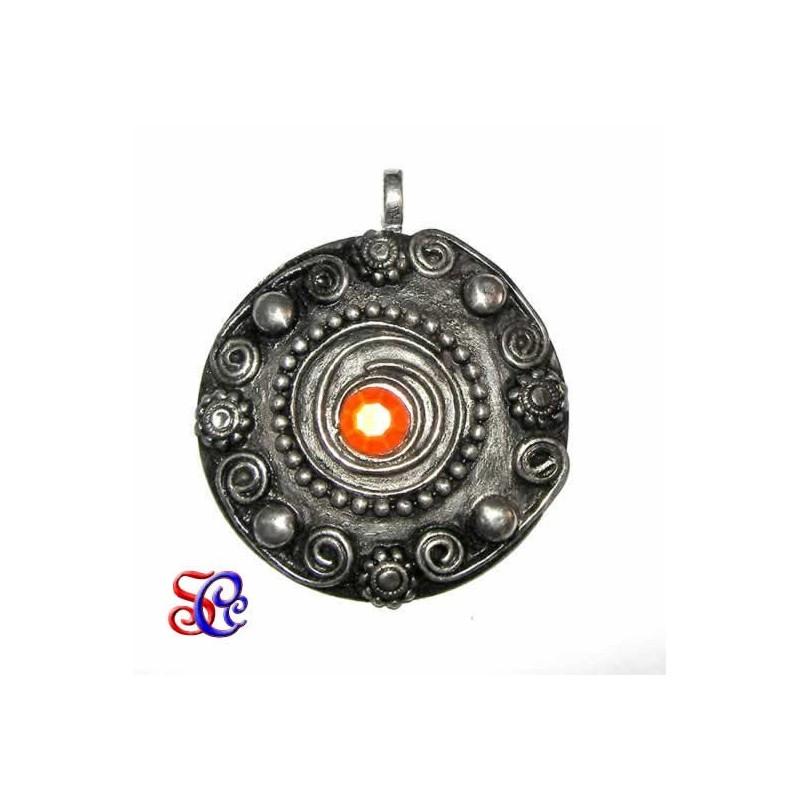 Colgante metal con piedra 4,5 cm