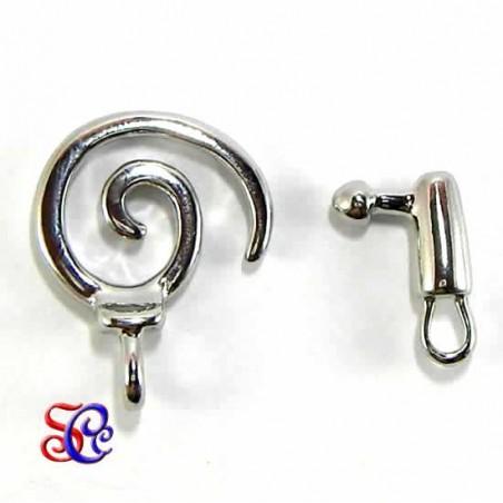 Broche en espiral con anilla, plateado 20 x 20 mm