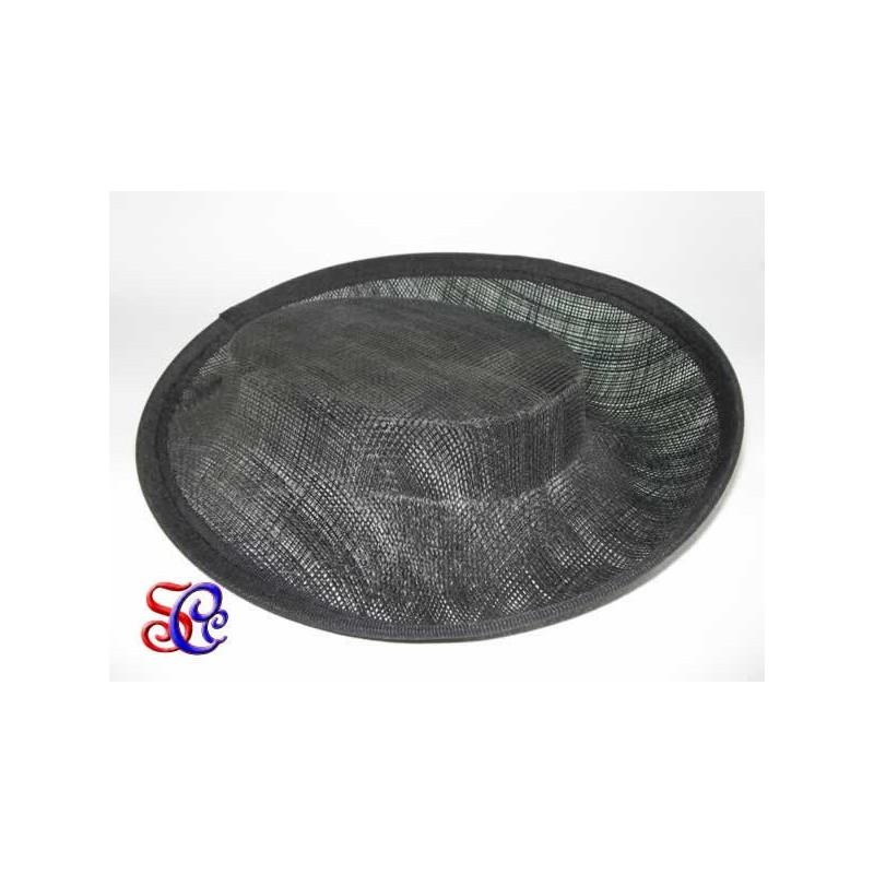 Base chato de sinamay negro para tocado, 19 X 16 x 4 cm