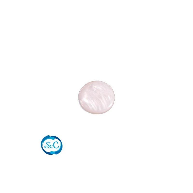 Piedra circular de nacar blanca con vetas