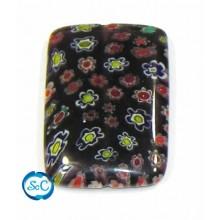 Piedra de cristal Rectangular, color Marrón flores