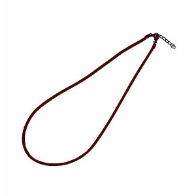 Cordón para colgante, Cuero redondo marrón 2 mm, con cierre mosqueton y cadena