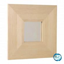Marco madera pino con espejo