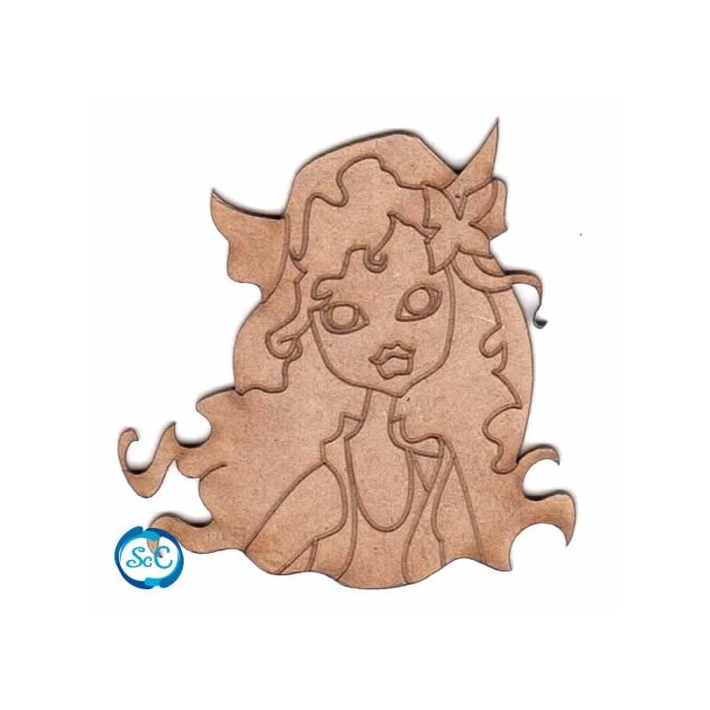 Monster high Daculina flor en el pelo silueta Dayka