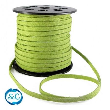 Cordon de antelina Verde pistacho, ancho 6 mm, 1 metro
