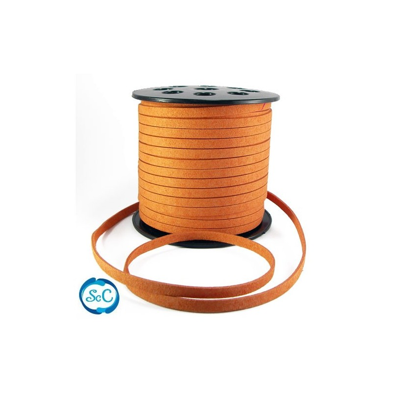 Cordon de antelina Naranja, ancho 6 mm, 1 metro