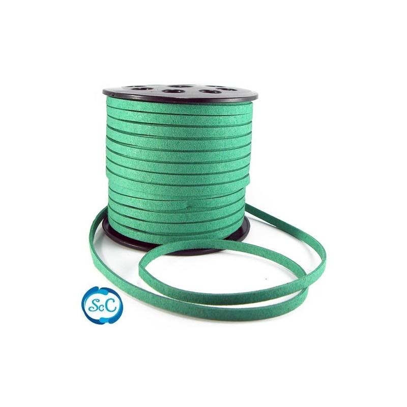 Cordon de antelina Verde, ancho 6 mm, 1 metro