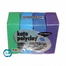 Pack Kato polyclay 4 pastillas, colores Frios