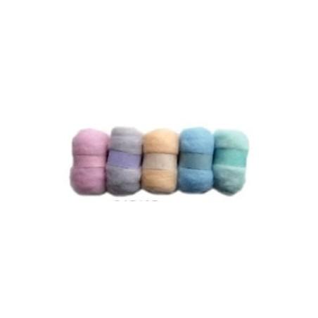 Madejas de fieltro, colores Pastel