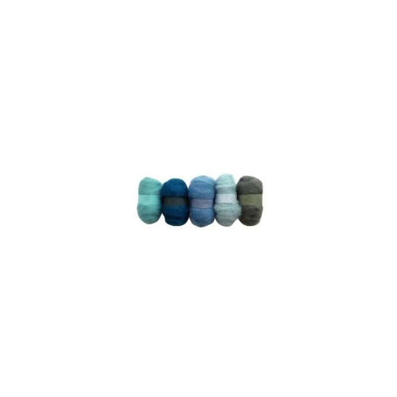 Madejas de fieltro, colores tonos Azules