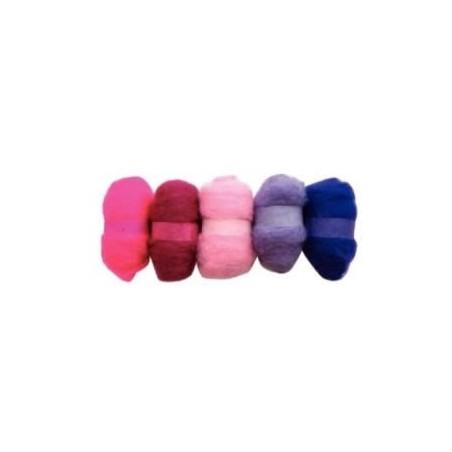 Madejas de fieltro, colores tonos Atardecer