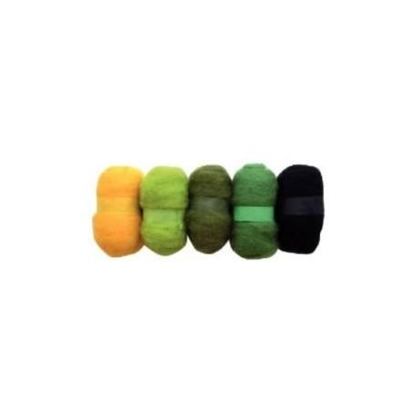 Madejas de fieltro, colores tonos Verdes