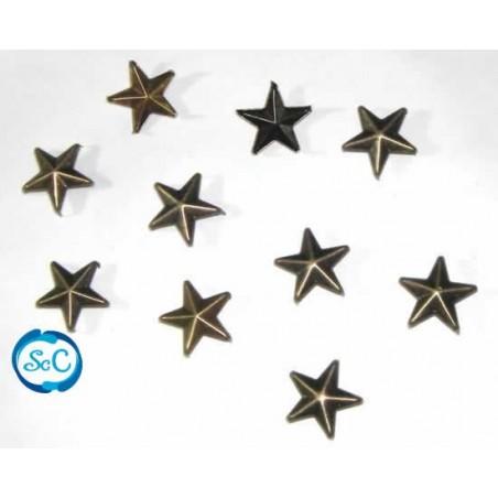 Tacha estrella color oro viejo 15 mm