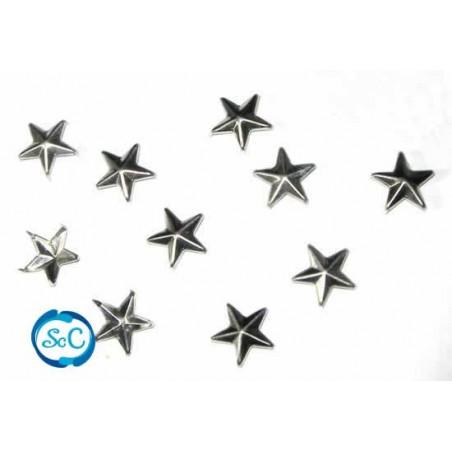 Tacha estrella color plata 15 mm