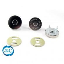 Cierre iman bolso botón color Niquel, 15 mm