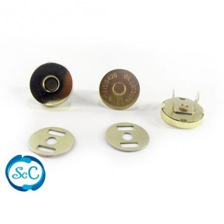 Cierre iman bolso botón color oro 19 mm