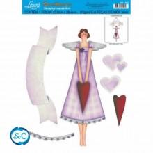 Siluetas con papel para decoupage mujer corazones