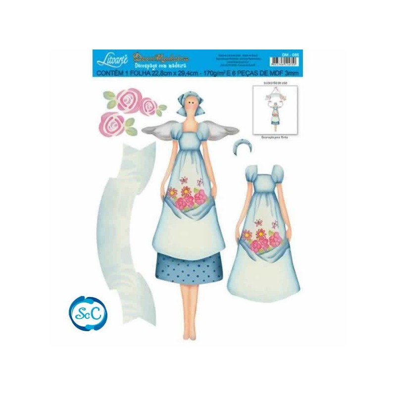 Siluetas con papel para decoupage mujer flores