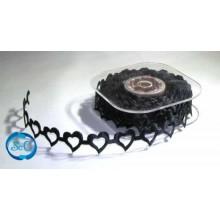 Cinta decorativa corazon calado negros. 1 m.