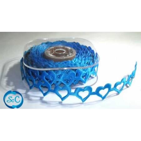 Cinta decorativa corazon calado azules. 1 m.