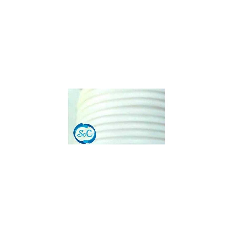 Cordón de caucho hueco, 4 mm, Blanco