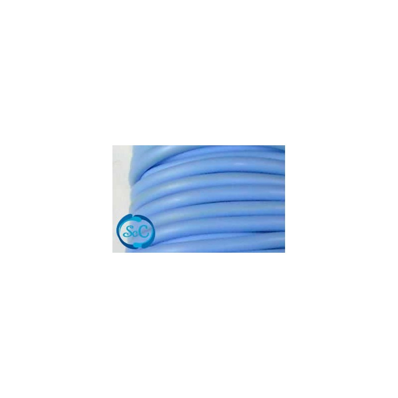 Cordón de caucho hueco, 4 mm, Celeste