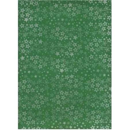 Planchas de goma eva estampada, Estrellas plata fondo verde