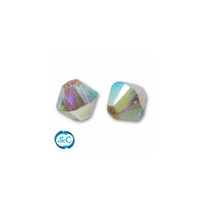 10 unidades Swarovski, tupi 4 mm cristal ABx2