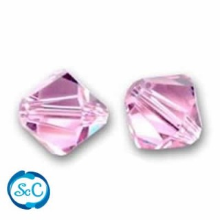 10 unidades Swarovski, tupi 4 mm Light Rosa