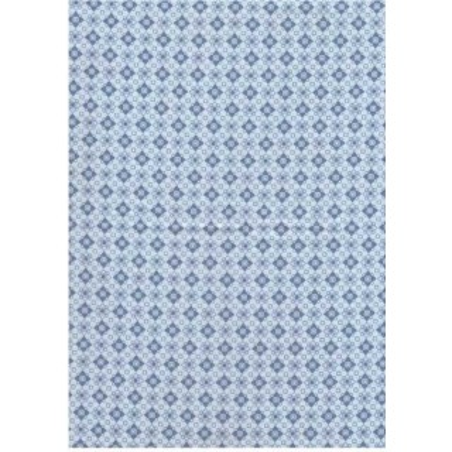 Tela patchwork Grecas Fondo celeste dibujo azul