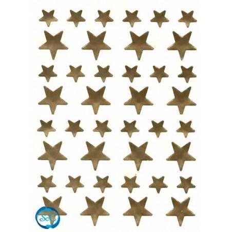 Pegatina estrellas oro, 40 unidades