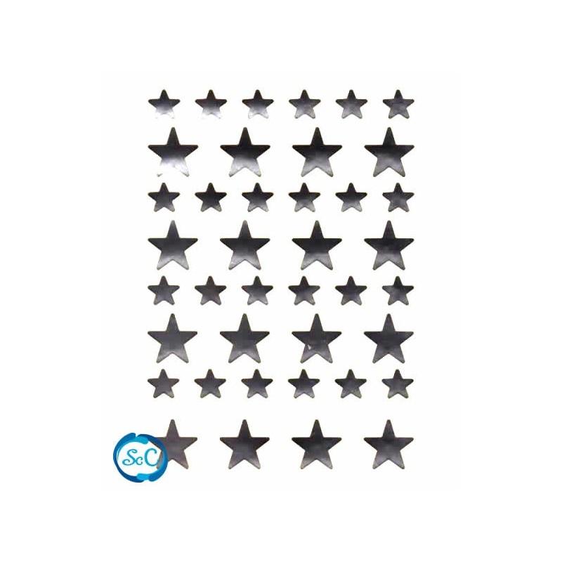 Pegatina estrellas plata, 40 unidades