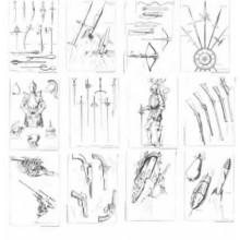 Laminas dibujo E. Freixas Armas y armaduras, dibujo