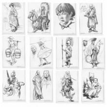 Laminas dibujo E. Freixas Personajes étnicos , dibujos