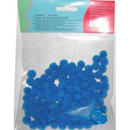 Bolas o pompones 1 cm azul