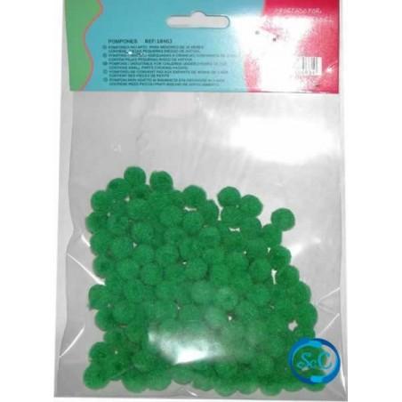 Bolas o pompones 1 cm verde