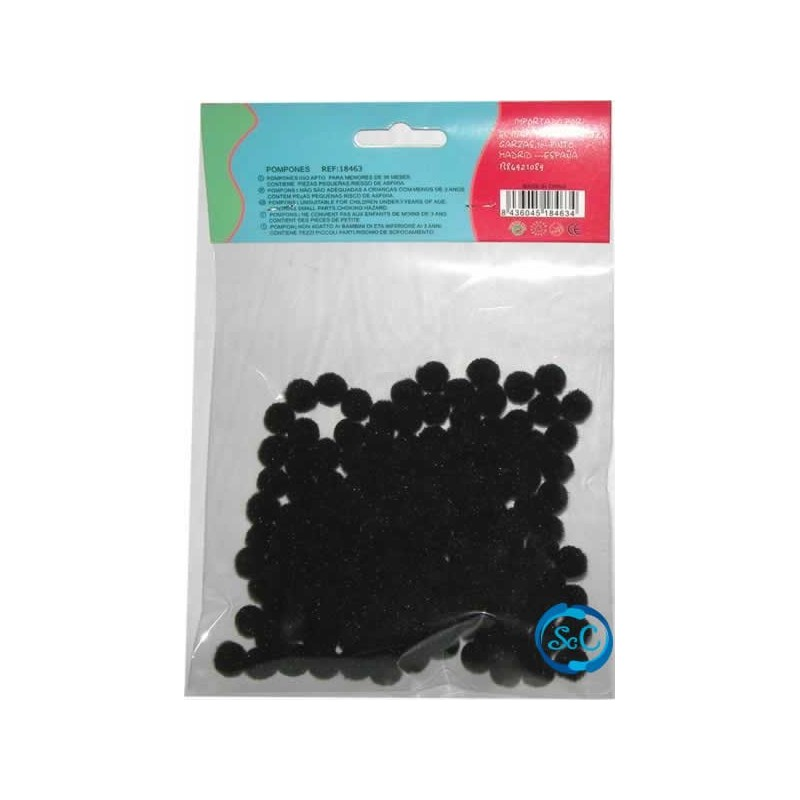 Bolas o pompones 1 cm negro