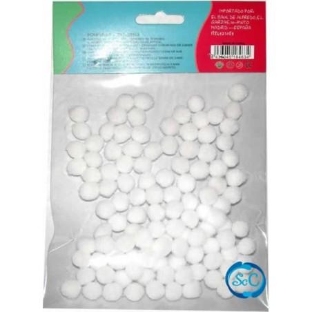 Bolas o pompones 1 cm blanco