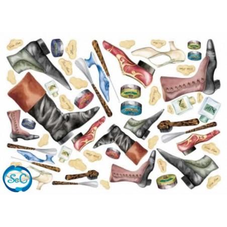 Papel de arroz Zapatos, Botas y botines