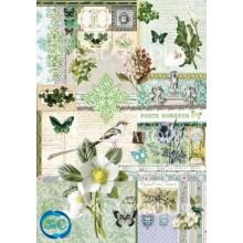 Papel de arroz Flores, sellos y mariposas