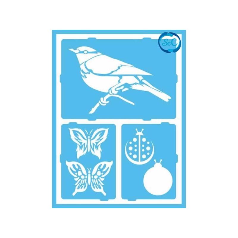 Plantilla Decoart Pájaro y mariposa