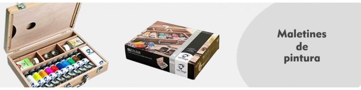 Cajas y maletines de pintor con pintura y accesorios, profesionales y amateur.