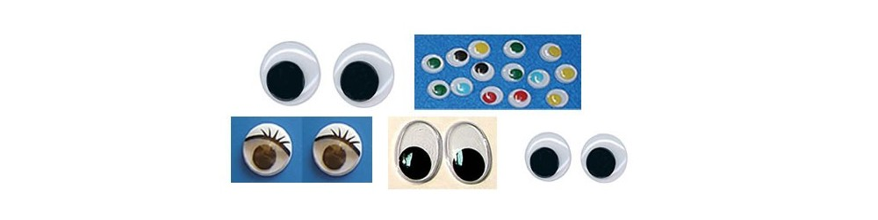 Ojos para muñecas y manualidades de tamaños y colores variados