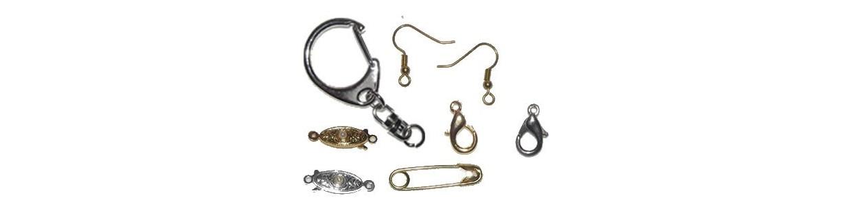 Fornituras y accesorios varios para montar bisuteria pendientes, cierres,mosquetones, etc.